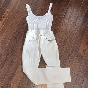 White jeans with embellishments